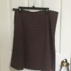 Talbots flared black skirt w/ red/white circles